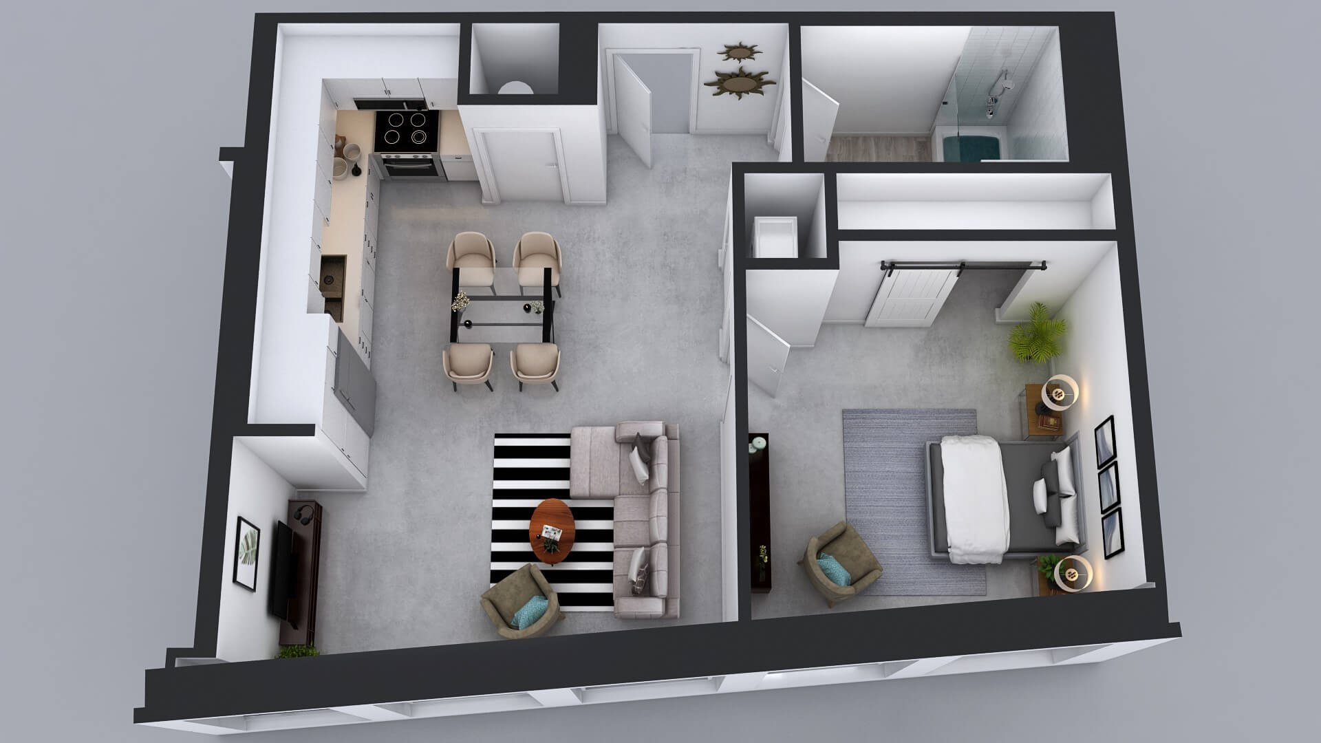 A24 Floor Plan - 1 Bed 1 Bath