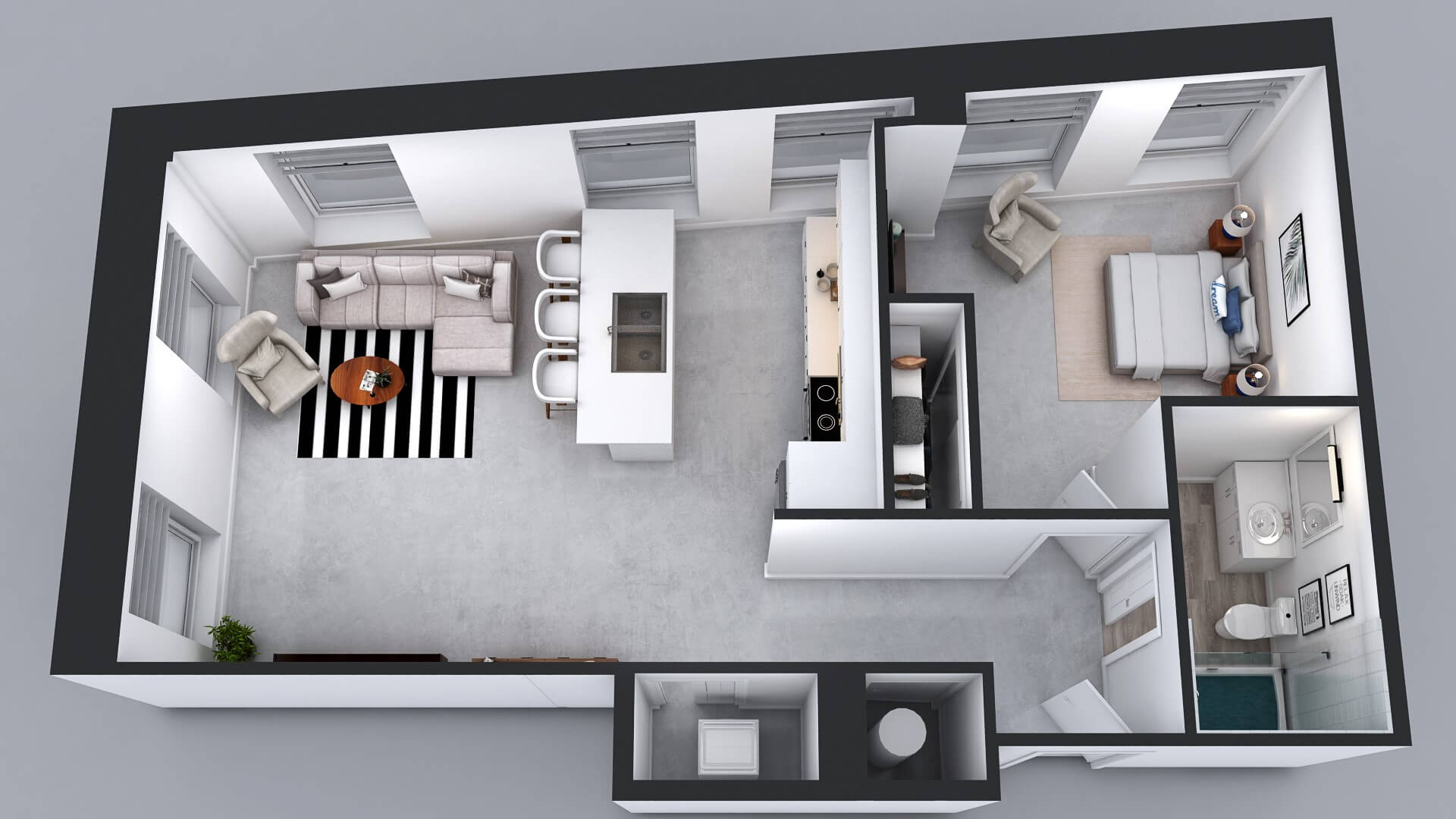 A27 Floor Plan - 1 Bed 1 Bath