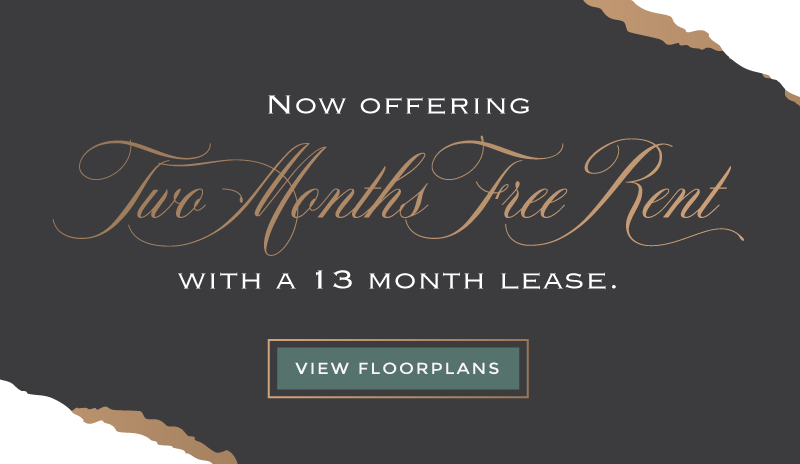 Two Months Free Rent with a 13 month lease.