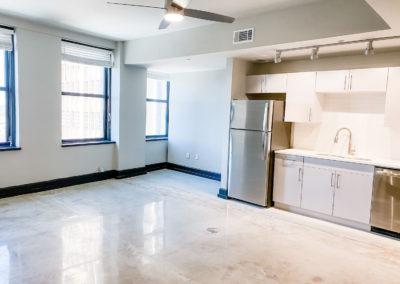 Kitchen Area at Merchants Plaza's Downtown Mobile Apartments