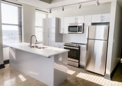 Silver Lacquer Kitchen Cabinets in an Apartment at Merchants Plaza