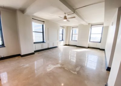Empty Living Area at Merchants Plaza's Downtown Mobile Apartments